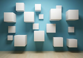 Website Design. Photo of art piece of white blocks on a blue background
