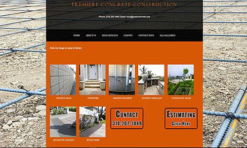 Premiere Concrete Construction Website Screen Capture